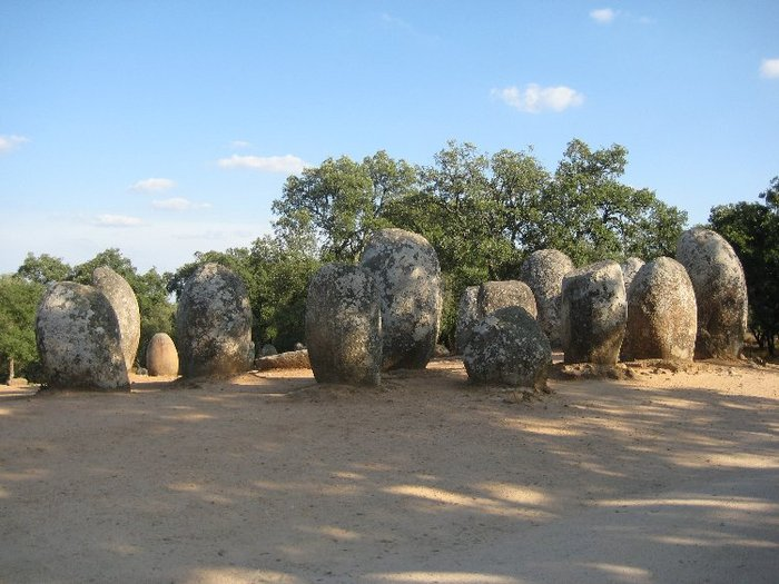 A group of menhirs Almendres (near Evora) in Portugal