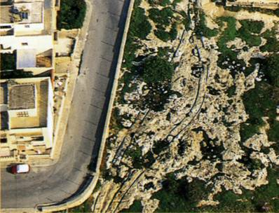 "The top view of the site in San Gwann. (From ""Malta: prehistory and temples"" by David H. Trump)"
