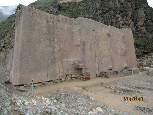 Building blocks of the Temple of the Sun at Ollantaytambo in cloudy weather (the author's photo)