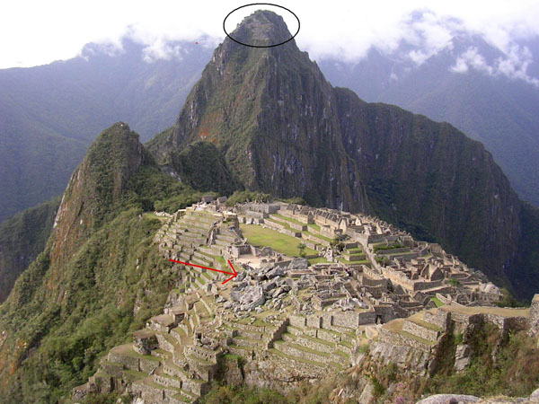 Red arrow points at the blocky ruins, the black oval points at the settlement on the top of Huayna