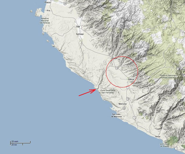 A regional map of the coast from Paracas and Ica in the north to the Atiquipa hills in the south (from         Google map)