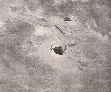 A hole in the desert. Photo by Erich von Daniken from the book Arrival of the Gods: Revealing the Alien Landing Sites of Nazca.