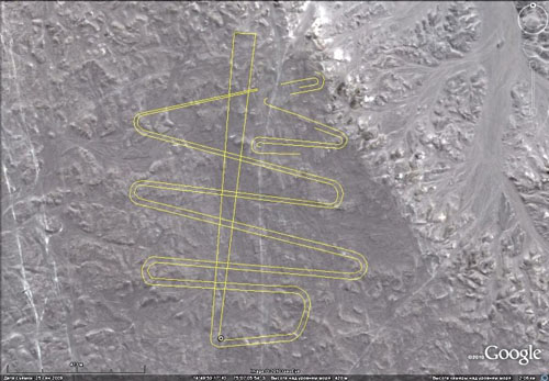 "Geoglyph called ""Snake"" on a plateau 2 km to the south of Cahuachi (From the article by I. Alekseev